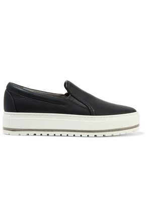 BRUNELLO CUCINELLI Chain-trimmed leather platform slip-on sneakers