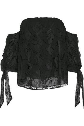 SACHIN & BABI Golden off-the-shoulder ruffled silk organza-trimmed lace top