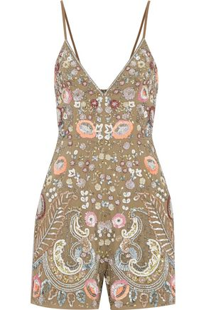 NEEDLE & THREAD Iridescent Cinder crepe playsuit