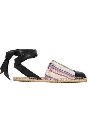 LOEFFLER RANDALL Striped woven and leather espadrilles