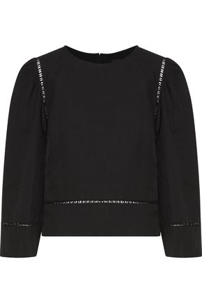 ISABEL MARANT Rodwell open knit-trimmed linen and cotton-blend top