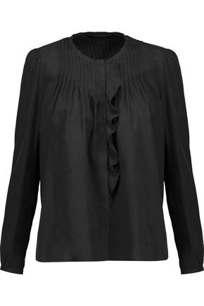ISABEL MARANT Pleyel ruffled pintucked silk-voile blouse