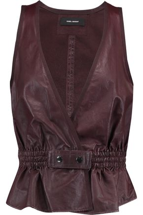 ISABEL MARANT Camille gathered leather peplum top