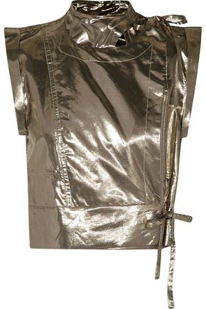 ISABEL MARANT Natalia cropped silk-blend lamé wrap top