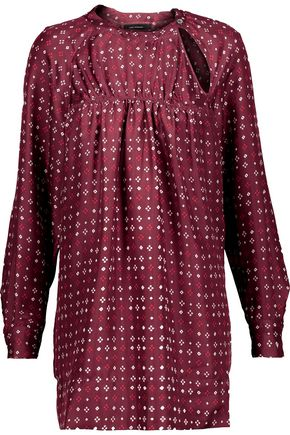 ISABEL MARANT Gathered printed silk-satin top