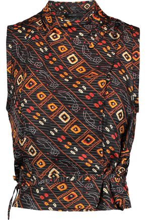 ISABEL MARANT Theo cropped printed silk wrap top