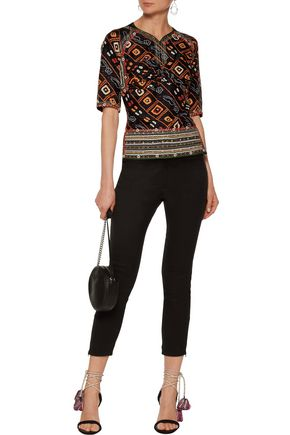 ISABEL MARANT Tamara open-back embroidered printed silk-satin top