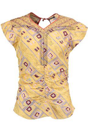 ISABEL MARANT Tova gathered printed silk top