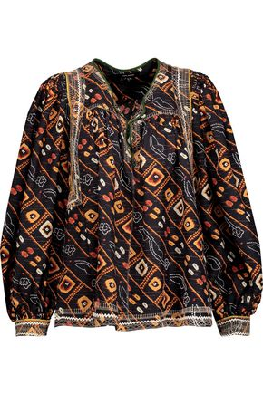 ISABEL MARANT Tyron embroidered printed silk-satin blouse