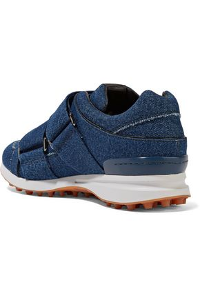 3.1 PHILLIP LIM Trance leather-trimmed denim sneakers
