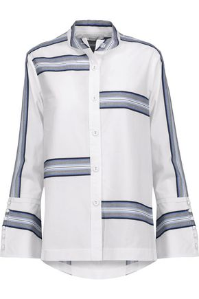 DEREK LAM 10 CROSBY Asymmetric striped cotton shirt