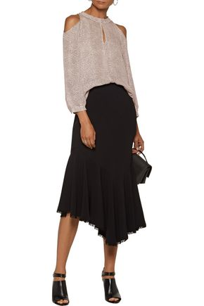 10 CROSBY DEREK LAM Cold-shoulder printed silk-crepe blouse