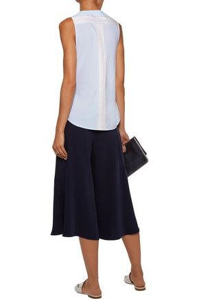 DEREK LAM 10 CROSBY Tie-front striped cotton-poplin top
