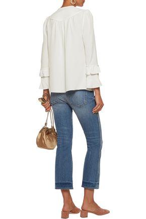 DEREK LAM 10 CROSBY Ruffled silk-blend crepe blouse