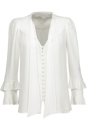 10 CROSBY DEREK LAM Pussy-bow ruffled silk-blend crepe blouse