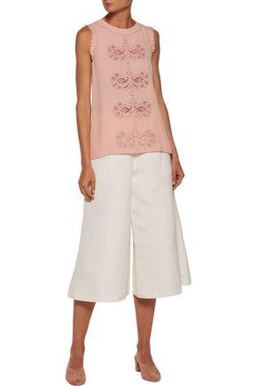 DEREK LAM 10 CROSBY Pleated lace-paneled silk-blend crepe top