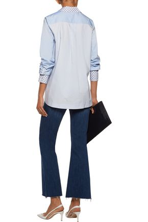 DEREK LAM 10 CROSBY Paneled flocked cotton-poplin shirt