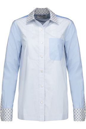 10 CROSBY DEREK LAM Paneled flocked cotton-poplin shirt