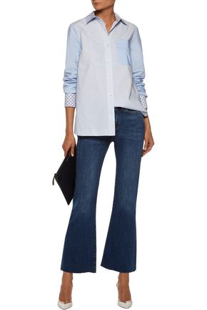 10 CROSBY DEREK LAM Paneled flocked cotton-poplin shirt