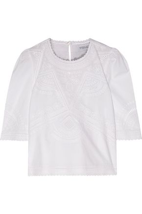 10 CROSBY DEREK LAM Broderie anglaise-paneled cotton-poplin top