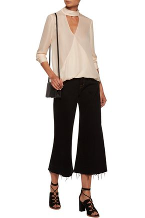 10 CROSBY DEREK LAM Draped silk-crepe blouse