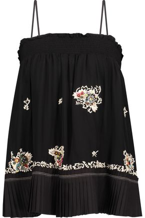DEREK LAM 10 CROSBY Embellished embroidered silk-chiffon top