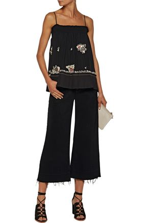 10 CROSBY DEREK LAM Embellished embroidered silk-chiffon top