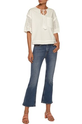 10 CROSBY DEREK LAM Crochet knit-paneled cotton-poplin top