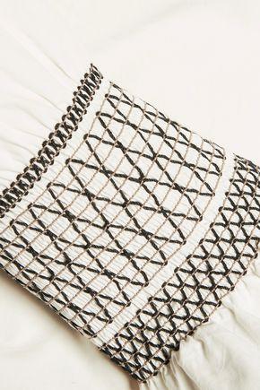 10 CROSBY DEREK LAM Smocked cotton-poplin top