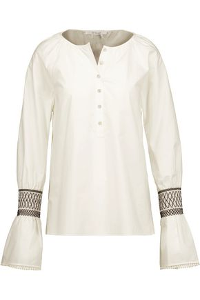 10 CROSBY DEREK LAM Smocked cotton-poplin top