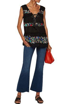 10 CROSBY DEREK LAM Ruffled floral-print cotton-gauze top