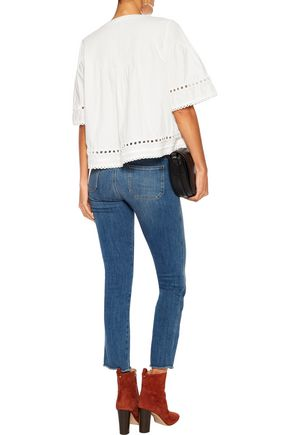 10 CROSBY DEREK LAM Embroidered pintucked cotton top