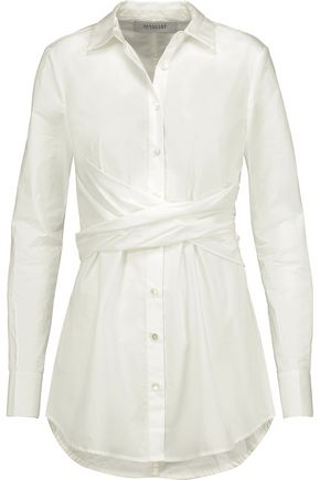 DEREK LAM 10 CROSBY Gathered cotton-poplin shirt