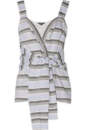 10 CROSBY DEREK LAM Tie-front striped cotton-poplin top