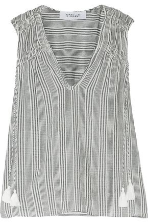 DEREK LAM 10 CROSBY Striped cotton-gauze blouse