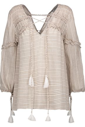 DEREK LAM 10 CROSBY Lace-up ruffle-trimmed striped cotton-gauze blouse