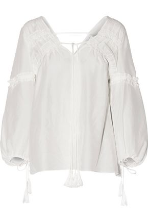 10 CROSBY DEREK LAM Lace-up ruffle-trimmed cotton and silk-blend broadcloth blouse