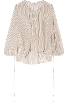 10 CROSBY DEREK LAM Lace-up draped striped cotton-gauze top