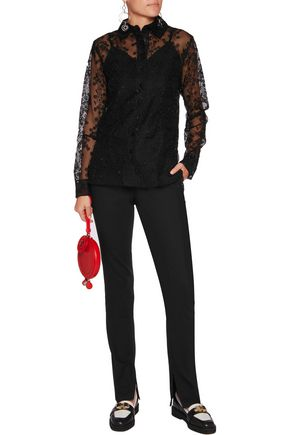CARVEN Embroidered organza shirt