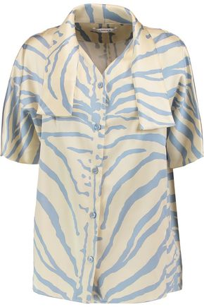 CARVEN Printed silk-blend satin top