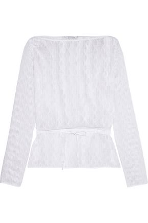 CARVEN Embroidered cotton-blend chiffon top