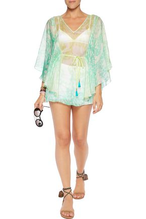 MATTHEW WILLIAMSON ESCAPE Printed silk-chiffon kaftan