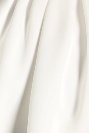 HALSTON HERITAGE Chain-embellished crepe de chine halterneck top