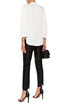HALSTON HERITAGE Cape-effect crepe de chine top