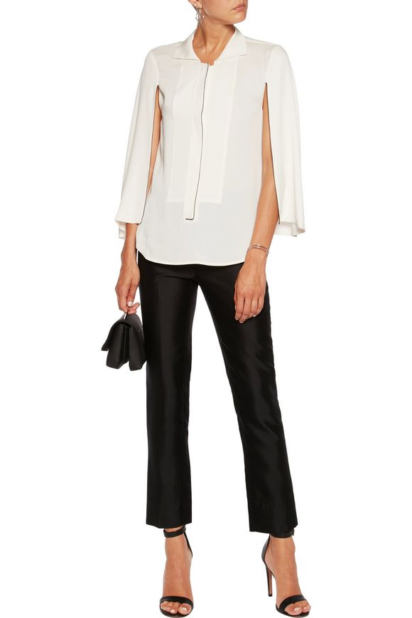 Cape-effect crepe de chine top | HALSTON HERITAGE | Sale up to 70% off |  THE OUTNET