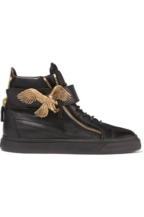 GIUSEPPE ZANOTTI Embellished leather sneakers
