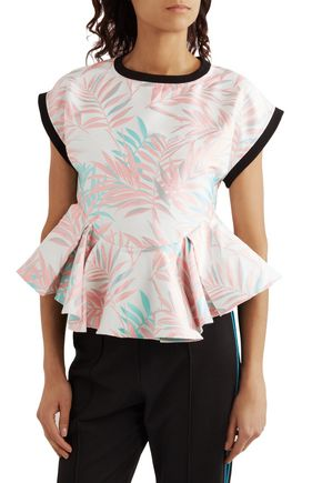 HOUSE OF HOLLAND Palm Leaf jersey-trimmed jacquard peplum top