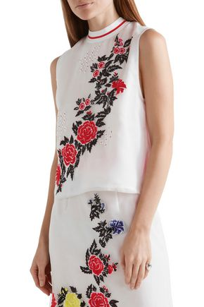 HOUSE OF HOLLAND Heart Breakers embroidered silk-organza top