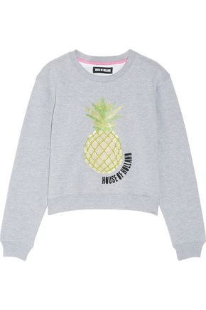 HOUSE OF HOLLAND Embellished cotton-blend jersey sweatshirt