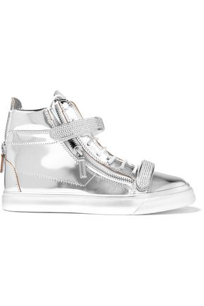 GIUSEPPE ZANOTTI DESIGN Metallic embellished leather high-top sneakers
